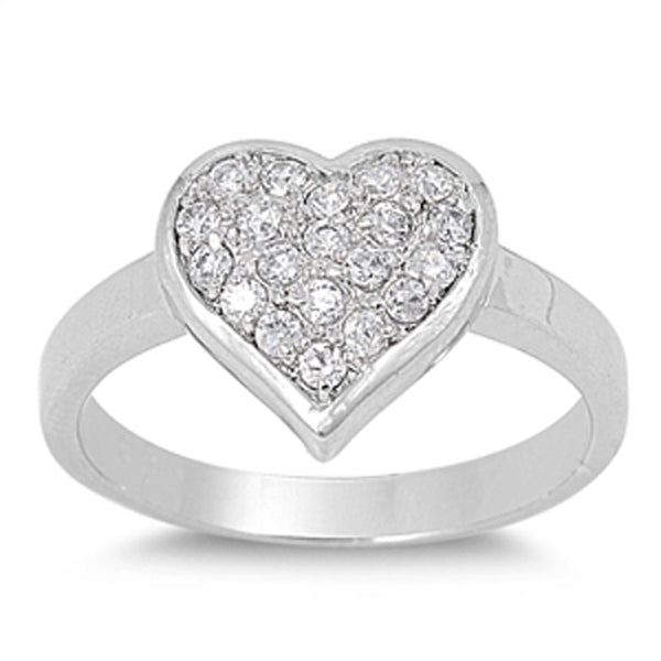 Sterling Silver Micropave Cubic Zirconia Heart Ring Sizes 5-10