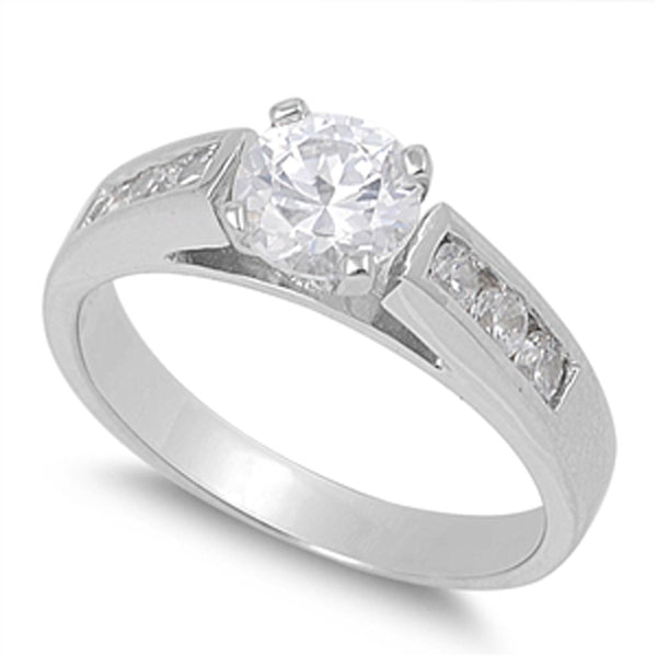 Sterling Silver Prong-set Cubic Zirconia Engagement Ring Sizes 5-9