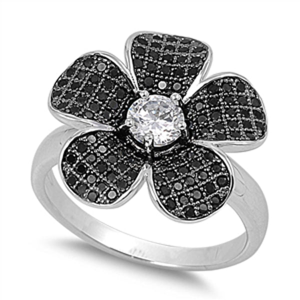 Sterling Silver Black Cubic Zirconia Flower Ring Sizes 5-9