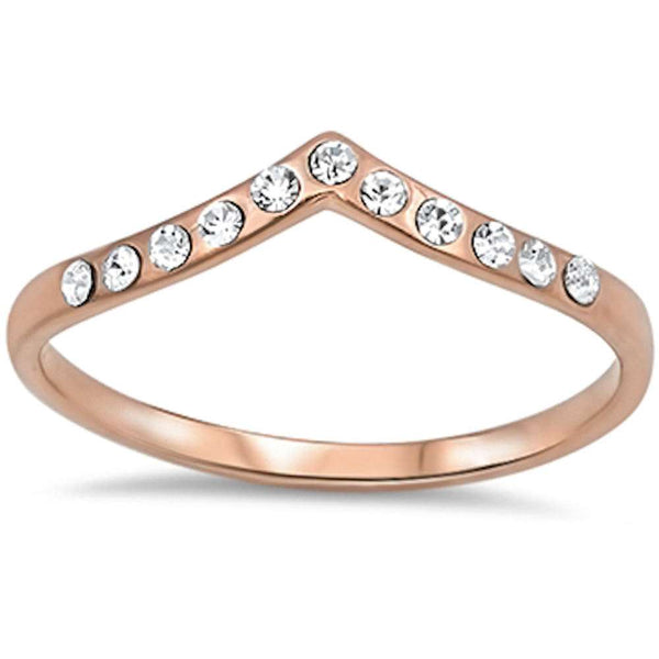 Rose Gold Plated Stackable Cz Accent .925 Sterling Silver Ring Sizes 3-10