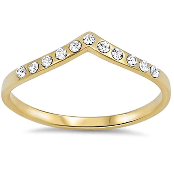 Yellow Gold Plated Stackable Cz Accent .925 Sterling Silver Ring Sizes 3-9
