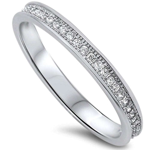 Pave Cz Eternity Style Band .925 Sterling Silver Ring Sizes 5-10