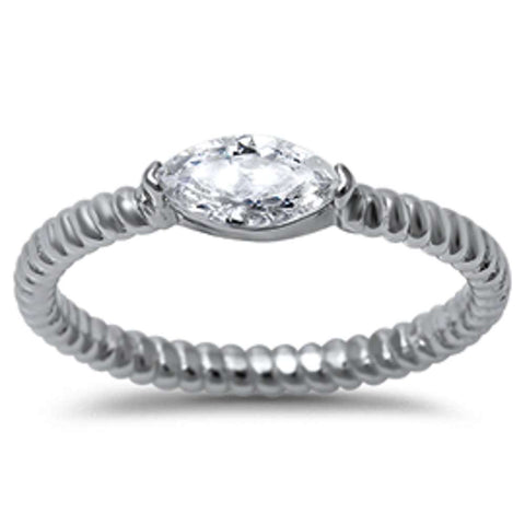 Marquis Cut Cubic Zirconia w/ Eternity Style Band .925 Sterling Silver Ring Sizes 5-10