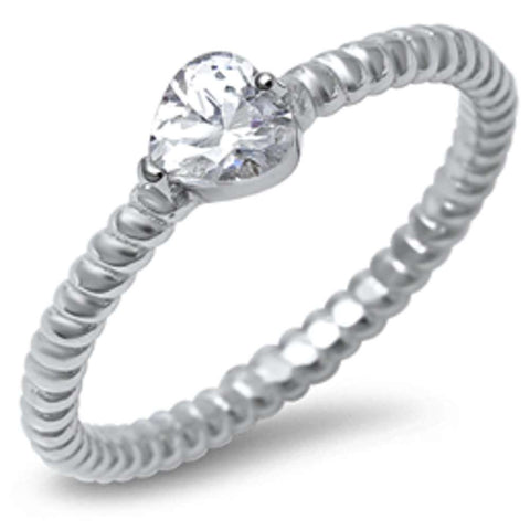 Heart Cubic Zirconia w/ Eternity Style band .925 Sterling Silver Ring Sizes 5-10