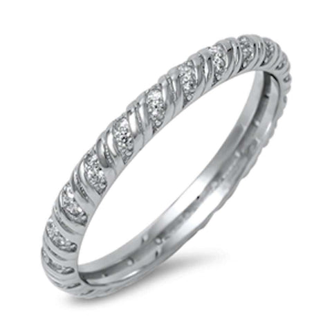 New Design Eternity Band Cubic Zirconia .925 Sterling Silver Ring Sizes 5-10