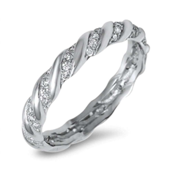 New Eternity Cubic Zirconia Band .925 Sterling Silver Ring Sizes 5-10