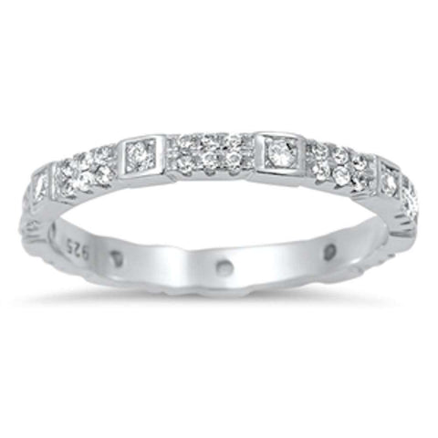 Unique Design Cubic Zirconia Eternity Band .925 Sterling Silver Ring Sizes 5-10