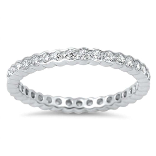New Bezel Design Cubic Zirconia Eternity Band .925 Sterling Silver Ring Sizes 5-10