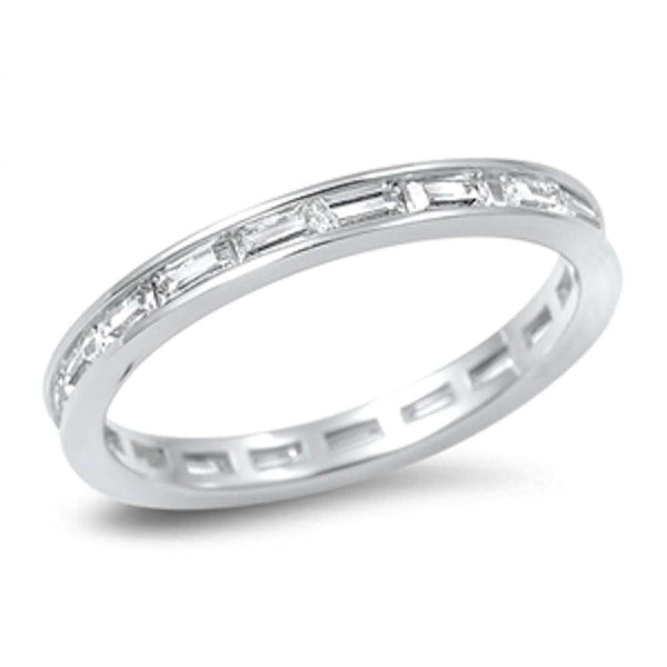 Bezel Baguette Eternity Band .925 Sterling Silver Ring Sizes 4-10