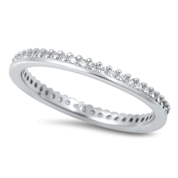 Prong Cubic Zirconia Eternity Band .925 Sterling Silver Ring Sizes 4-10