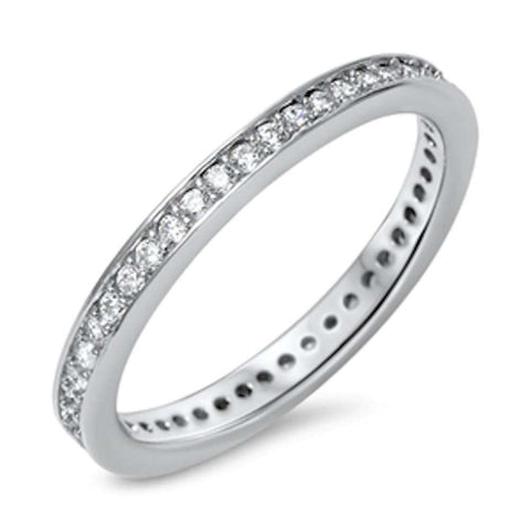 New Cubic Zirconia Eternity Band .925 Sterling Silver Ring Sizes 4-10