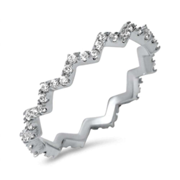 Zigzag Cubic Zirconia Eternity Band .925 Sterling Silver Ring Sizes 4-10
