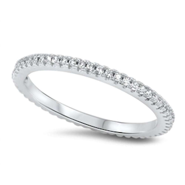 Four Prong Cubic Zirconia Eternity Band .925 Sterling Silver Ring Sizes 4-10