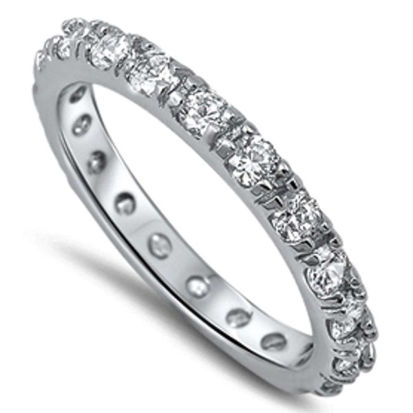 Beautiful Cubic Zirconia Eternity Band .925 Sterling Silver Ring Sizes 5-10