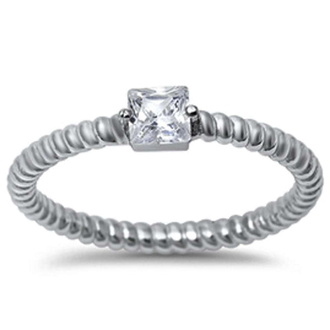 Princess Cut Cubic Zirconia w/ eternity Style Band .925 Sterling Silver Ring Sizes 5-10