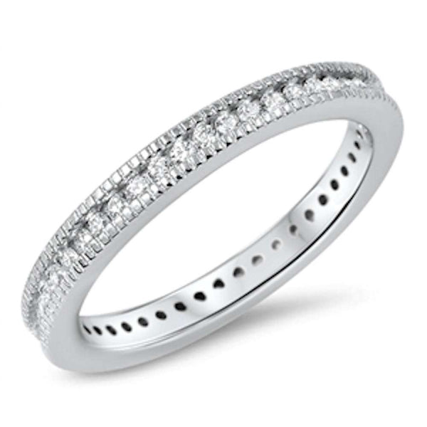 Micro Pave Cubic Zirconia Eternity Band .925 Sterling Silver Ring Sizes 4-10