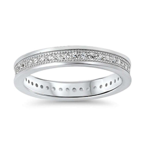 Cubic Zirconia Eternity Band  .925 Sterling Silver Ring Sizes 5-10