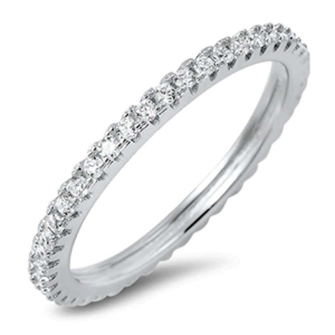 New Eternity Band Cubic Zirconia  .925 Sterling Silver Ring Sizes 4-10