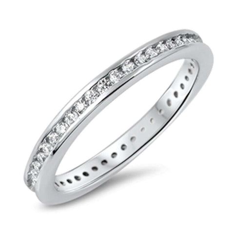 Bezel Cubic Zirconia Eternity Band .925 Sterling Silver Ring Sizes 4-10