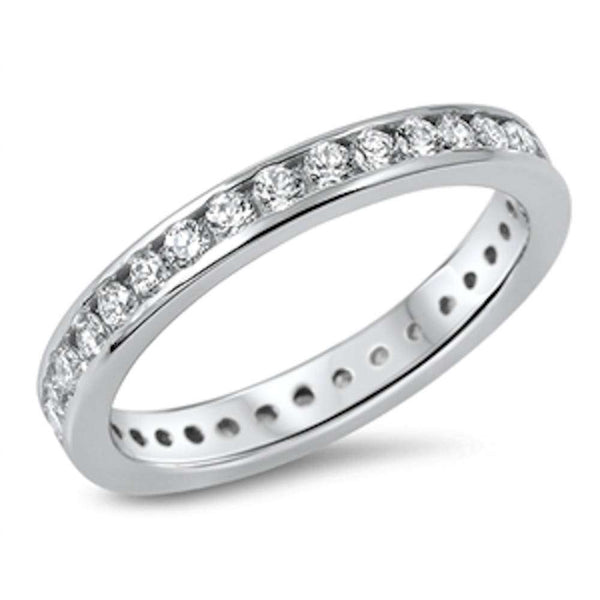 NEW Bezel Style Eternity Cubic Zirconia Band .925 Sterling Silver Ring Sizes 5-10