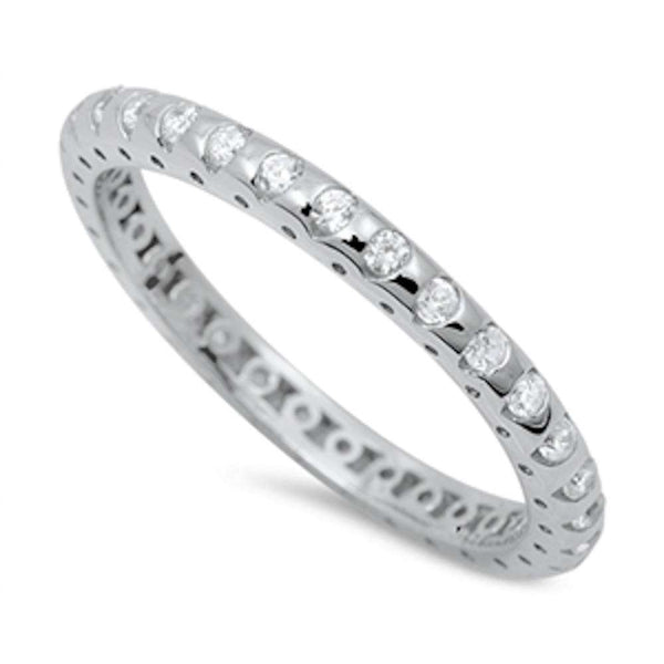 Eternity Cubic Zirconia Wedding Band .925 Sterling Silver Ring Sizes 4-10