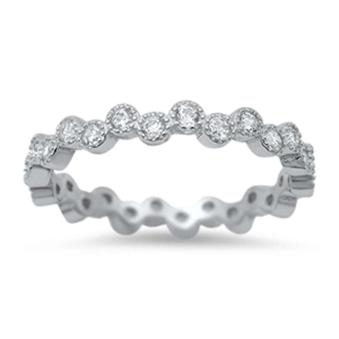 New Design Cubic Zirconia Eternity Anniversary Band .925 Sterling Silver Ring Sizes 4-10