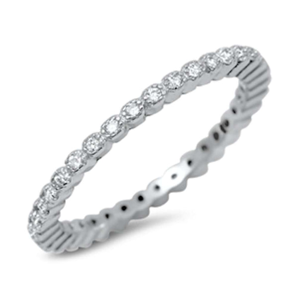 Round Cubic Zirconia Eternity Band .925 Sterling Silver Ring Sizes 4-10