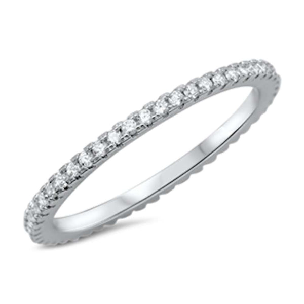 Four Prong Cubic Zirconia Eternity Band .925 Sterling Silver Ring Sizes 4-13