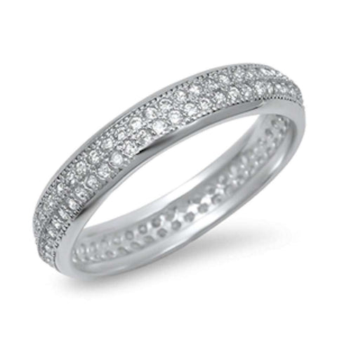 Eternity Band Micro Pave Cubic Zirconia .925 Sterling Silver Ring Sizes 5-10