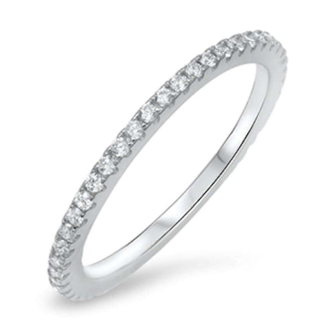 Single Cubic Zirconia Eternity Band .925 Sterling Silver Ring Sizes 5-10