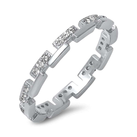 Unique Cubic Zirconia Eternity Band .925 Sterling Silver Ring Sizes 4-10