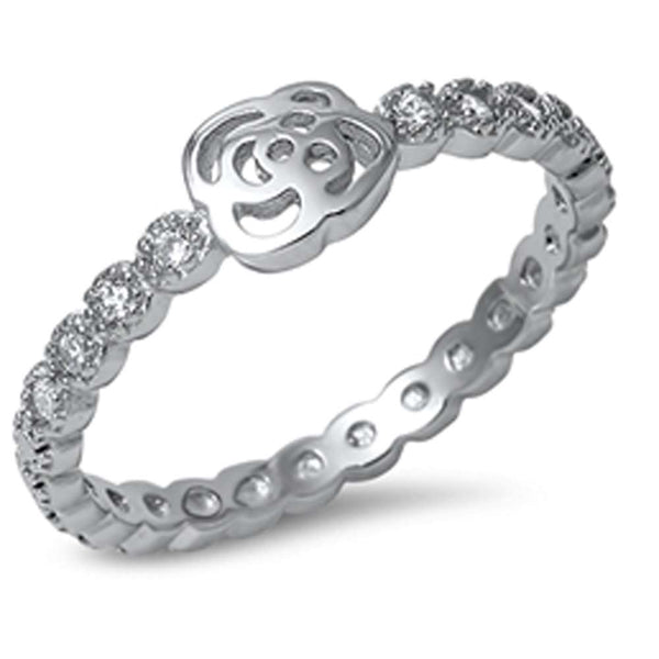 Plain Rose & Cubic Zirconia Eternity Band .925 Sterling Silver Ring Sizes 4-10