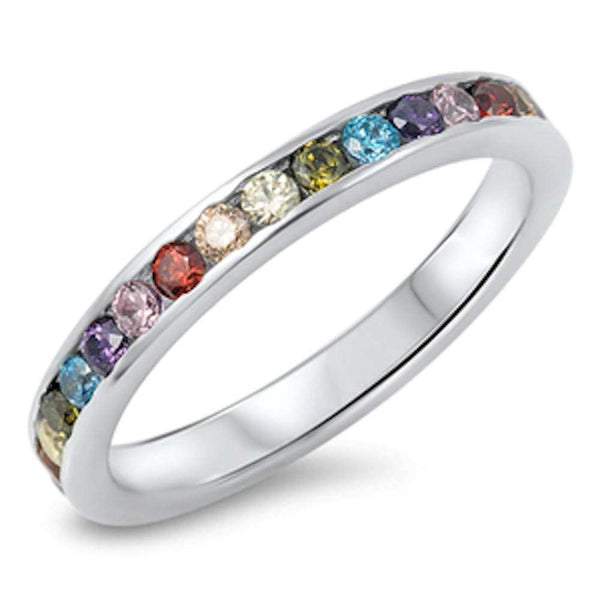 Multi color Gemstones Eternity Band .925 Sterling Silver Ring Sizes 5-10