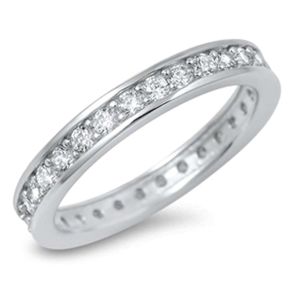 New Cubic Zirconia Eternity Band .925 Sterling Silver Ring Sizes 5-10