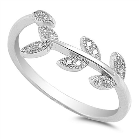 Olive Branch Leaf .925 Sterling Silver Ring Sizes 4-10