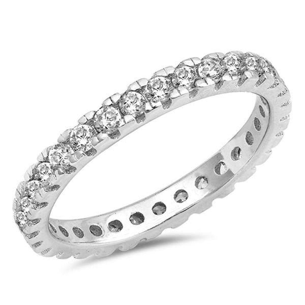 Round Cubic Zirconia Eternity Band  .925 Sterling Silver Ring Sizes 5-10