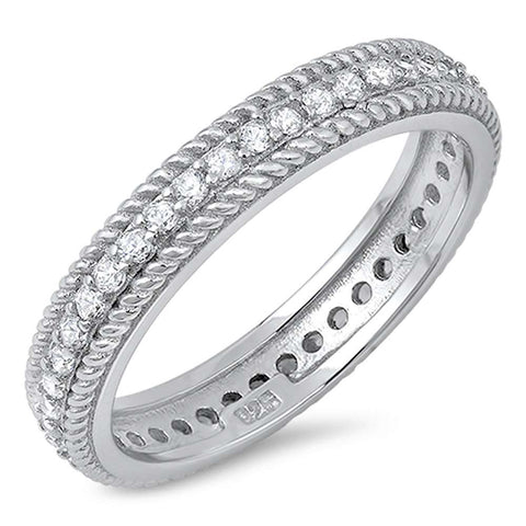 Cubic Zirconia with Rope Design Eternity Band .925 Sterling Silver Ring Sizes 5-10