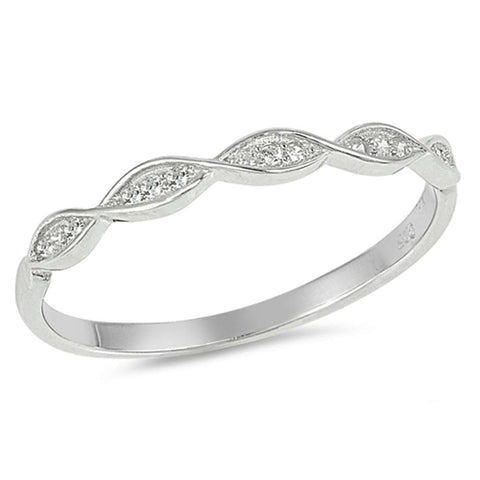 Trendy! Stackable Cubic Zirconia Band .925 Sterling Silver Ring Sizes 4-10