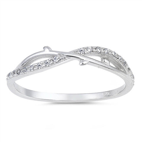 Cubic Zirconia Cz Infinity Band .925 Sterling Silver Ring Sizes 4-10
