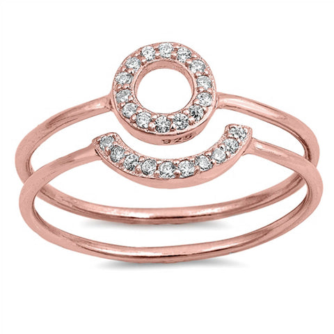 Rose Gold Plated Cubic Zirconia Open Circle Set .925 Sterling Silver Ring Sizes 4-10