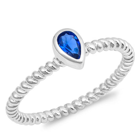Blue Sapphire Pear Shape with Rope Design Band .925 Sterling Silver Ring Sizes 4-9