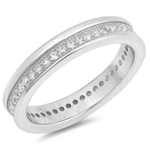 Channel Set Cz Eternity Wedding Band .925 Sterling Silver Ring Sizes 4-10