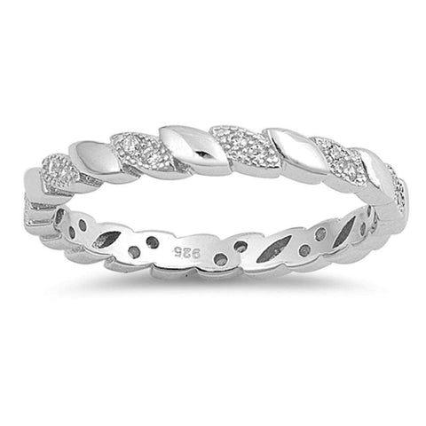 Eternity Band Cubic Zirconia .925 Sterling Silver Ring Sizes 4-10