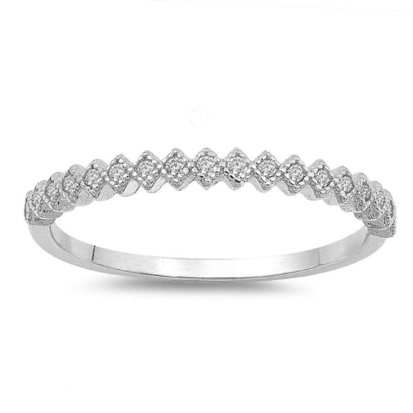Trendy Crown Tiara Eternity Band Stackable .925 Sterling Silver Ring Sizes 4-10