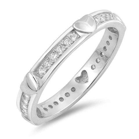 Heart and Cubic Zirconia Eternity Band .925 Sterling Silver Ring Sizes 5-10