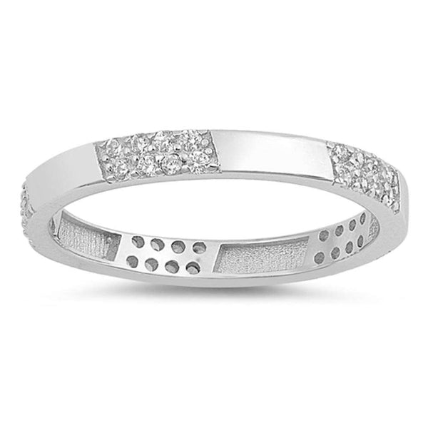 Eternity Wedding Anniversary Band .925 Sterling Silver Ring Sizes 5-10