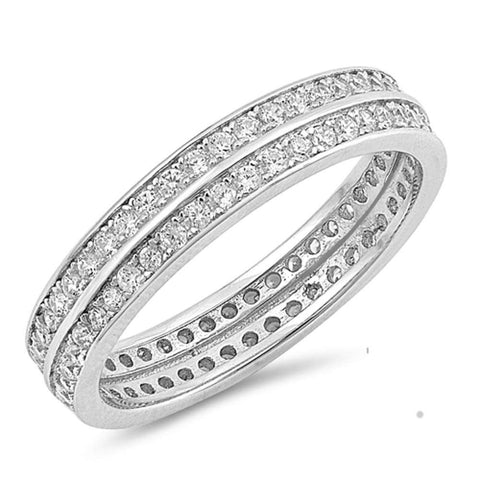 Modern Eternity Wedding Anniversary Band .925 Sterling Silver Ring Sizes 5-10