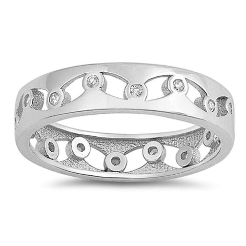 Eternity Band Cubic Zirconia .925 Sterling Silver Ring Sizes 5-10