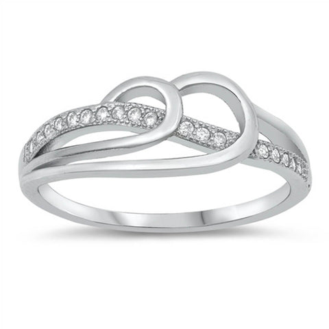 Cubic Zirconia Infinity Knot .925 Sterling Silver Ring Sizes 4-10