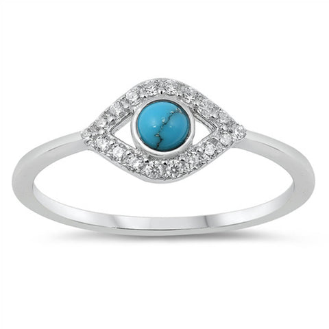 Turquoise & Cubic Zirconia Evil eye .925 Sterling Silver Ring Sizes 5-10